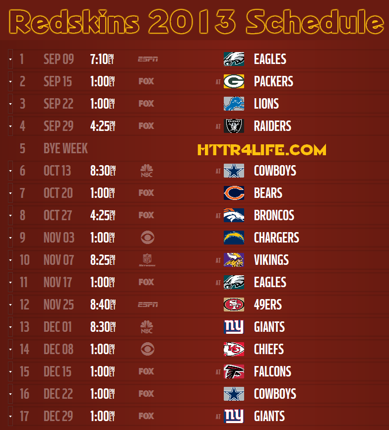 Redskins 2013 Schedule Announced