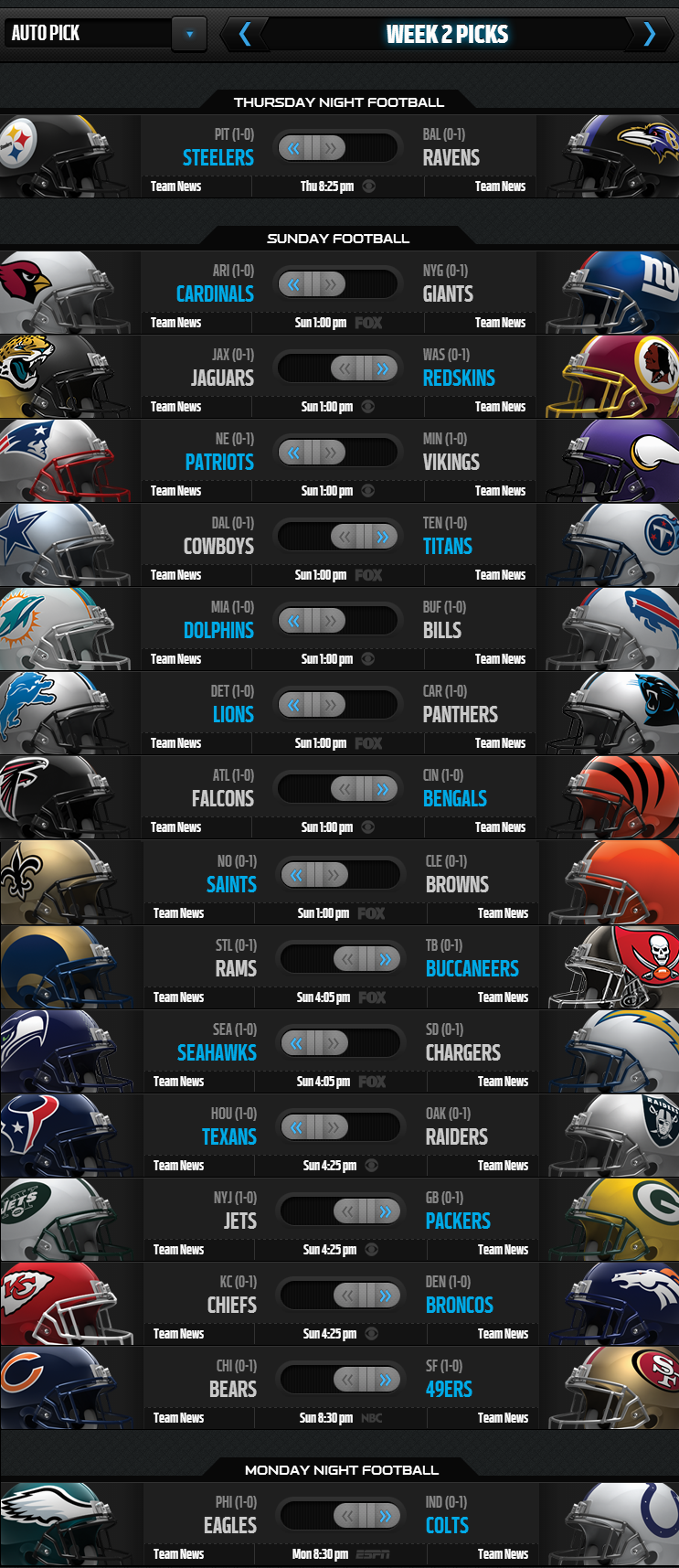 NFL Weekly Picks - Week 2