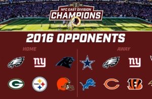 redskins 2016 opponents list